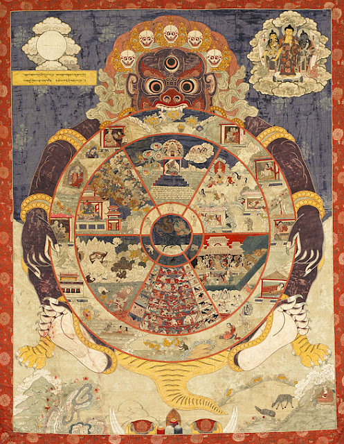 More recent (circa 1800) depiction of the Wheel of Existence, showing the six realms of existence, with Lord Yama in attendance. Applique and embroidery on silk.