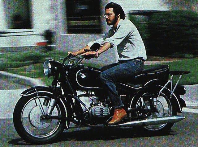 Steve Jobs in 1982 riding his 1966 R60/2 BMW Motorcycle