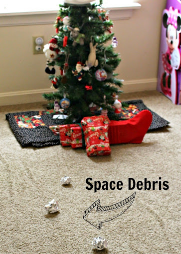 "Our Guardians of the Galaxy ""Meteorite"" of toys hit and left behind a ""space debris"" trail #OwnTheGalaxy"