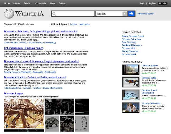 Wikipedia search result page redesign