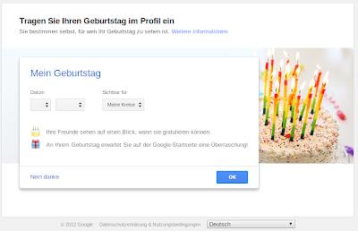 Google+ Geburtstag eintragen