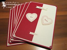 stampin up hearts a flutter wedding menu hochzeit bitty banners