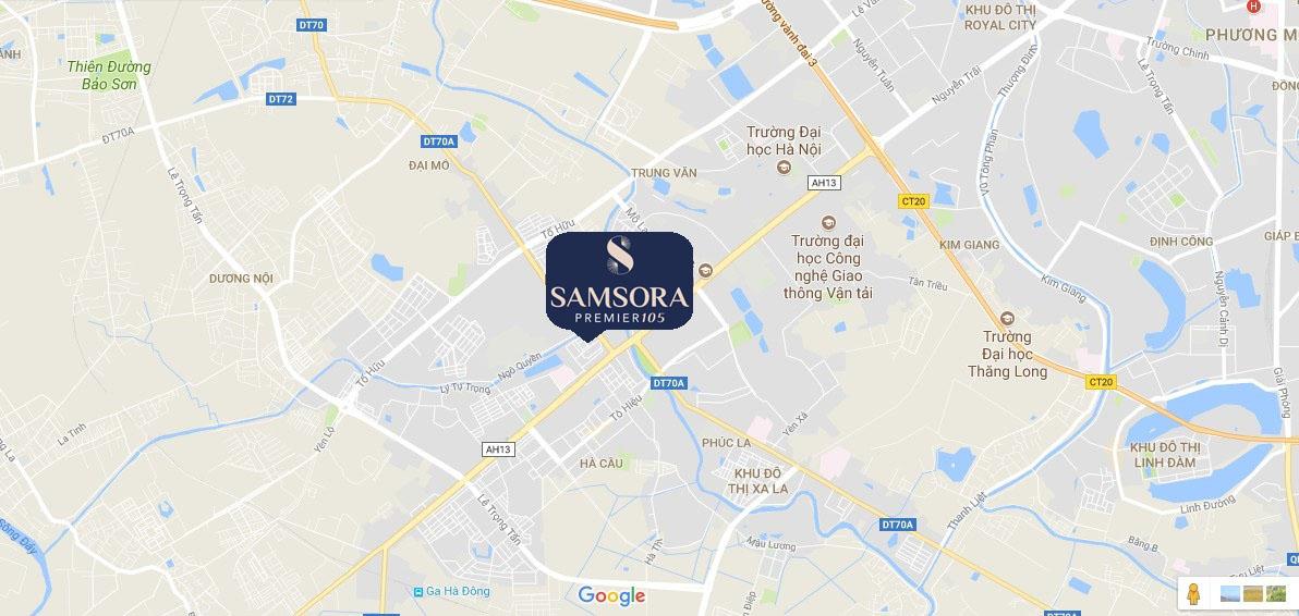 Vị trí dự án Samsora Premier 105 Chu Văn An