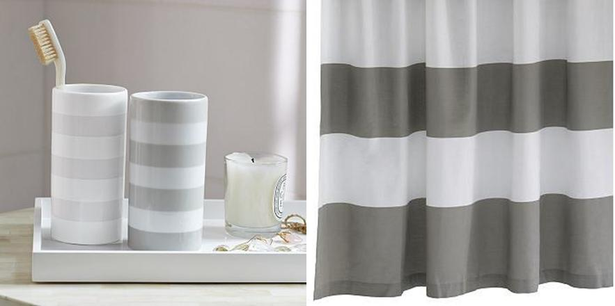 gallery for grey and white striped shower curtain