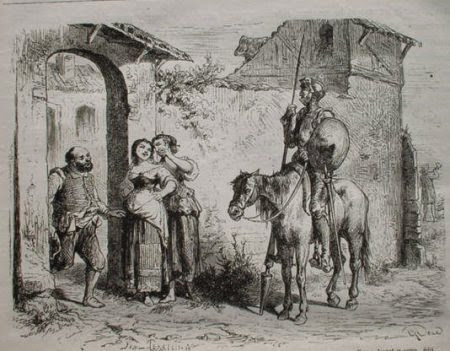 Don Quijote en la venta que tomó por castillo
