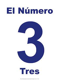 Lámina para imprimir el número tres en color Azul