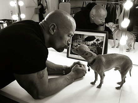 Dwayne Johnson and a chihuahua