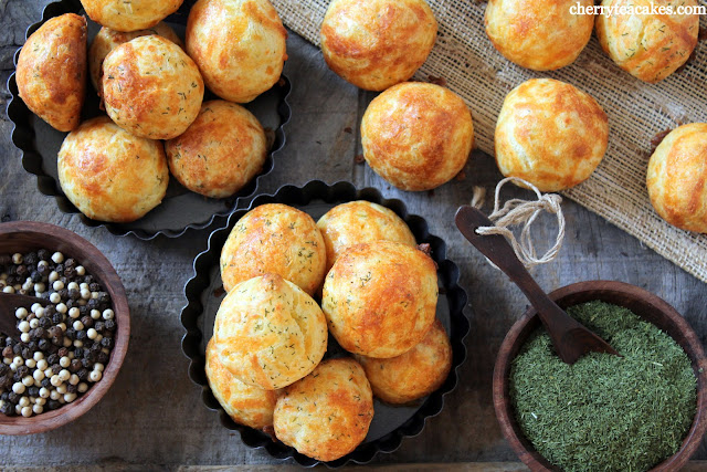 Cheddar Dill Gougeres recipe from cherryteacakes.com