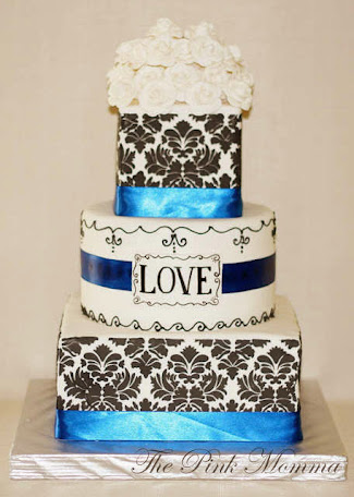 Damask Wedding Cake by The Pink Momma