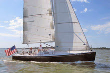 J/100 Aura sailing on Chesapeake Bay off eastern Maryland