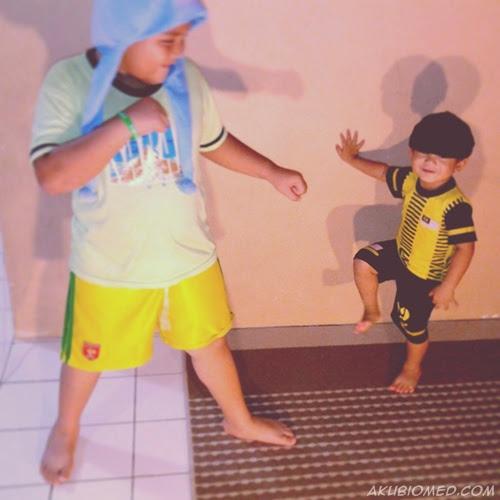 abang koning sparring dengan baby aslah