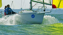 J/80 one-design sailboat- sailing winter series hamble, england