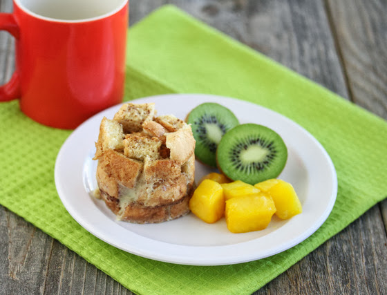 photo of French Toast in a Mug with fruit and a mug in the background