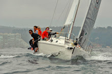 J/105 sailing upwind on Algarrobo Bay, Chile