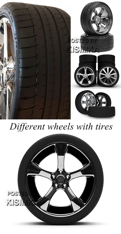 Stock Photo: Different wheels with tires