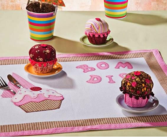 Jogo americano patchaplique cupcake