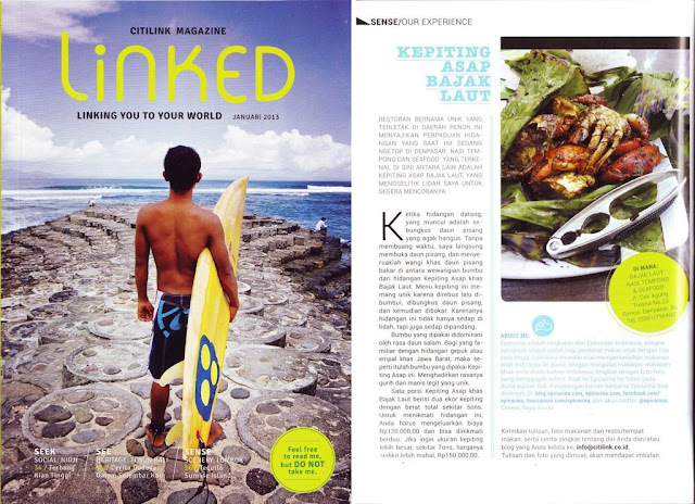 Kepiting Asap Bajak Laut in Linked Citilink in flight magazine by Epicurina Indonesia