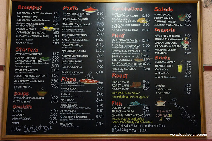 Spaghetti House Tufnell Park Menu