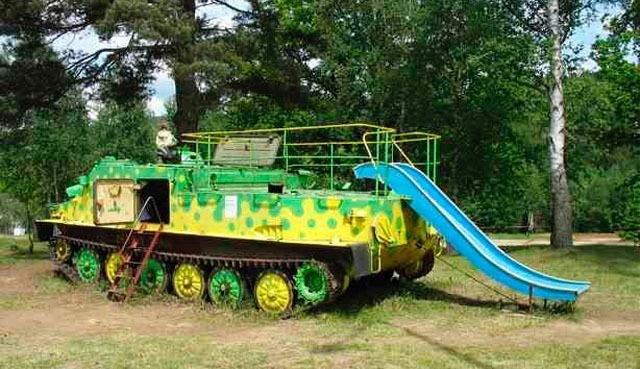 Old Tank Transformed Into Playground