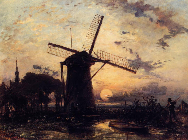 Johan Jongkind - Boatman by a Windmill at Sundown
