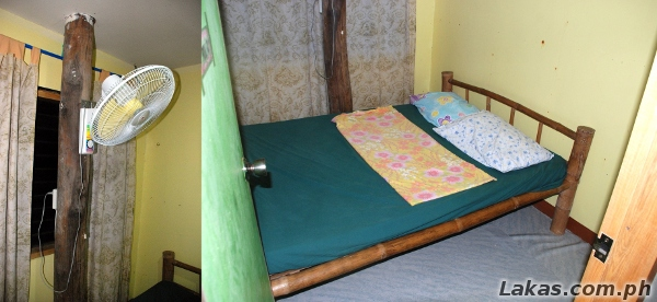 (Left) Electric Fan with Electric Socket; (Right) Bed, Pillows and Blanket