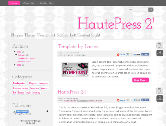 HautePress Version 2-1: Sidebar left/Content Right Orientation