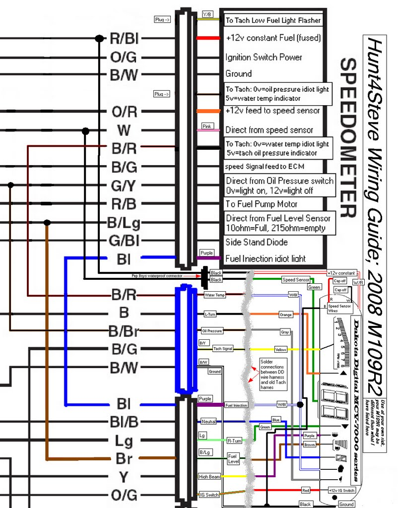 modified schematic with the installation of the dakota digital mcv-7200