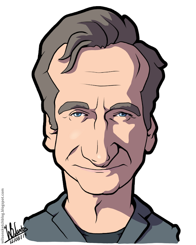 Cartoon caricature of Robin Williams.