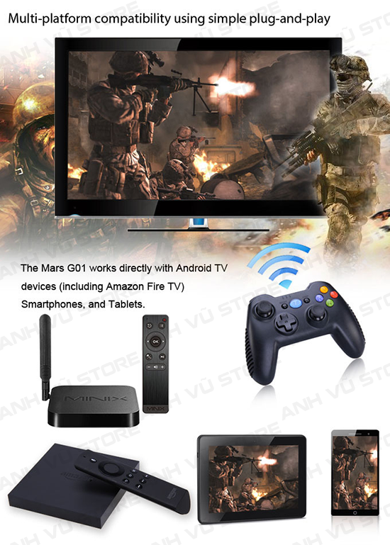 Tronsmart Mars G01 2.4GHz Wireless Gamepad Tay Game Cho Android TV BOX 14