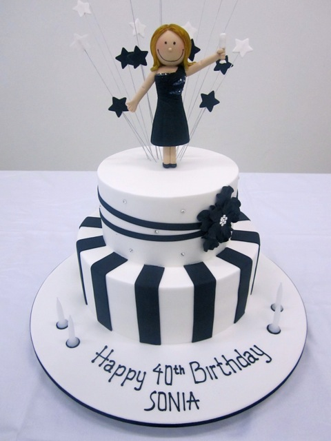 Handis Cakes Black White Birthday Cake