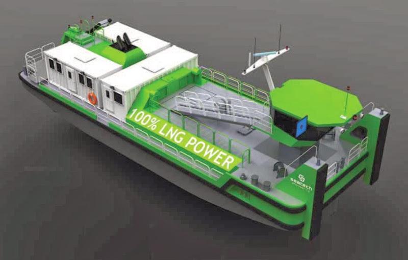 LNG jako napęd - pchacz rzeczny (barka). Statek zasilany gazem ziemnym z Polski