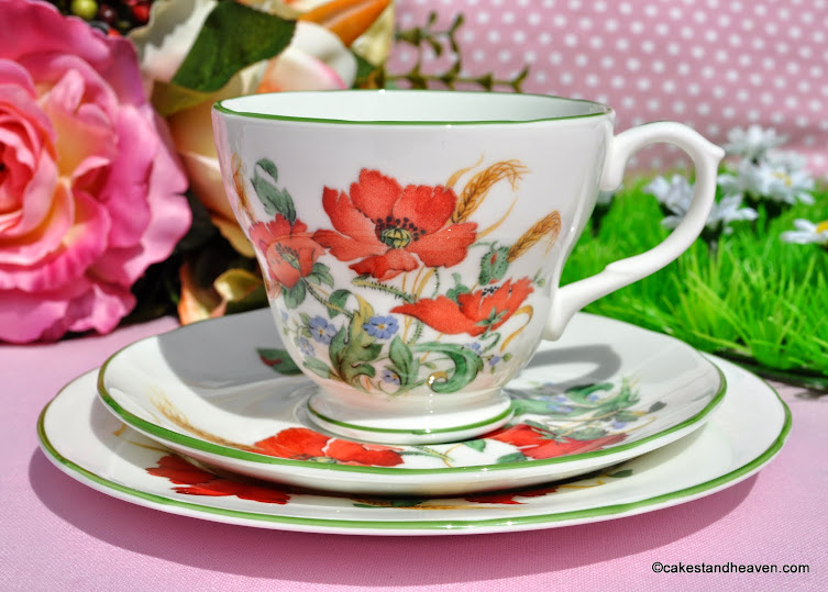 Duchess Poppies vintage fine china teacup, saucer, tea plate