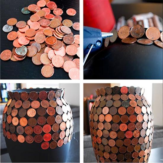Vaso decorado com moedas