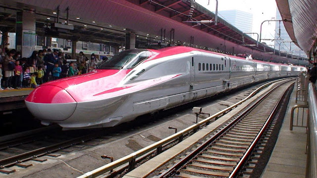Tàu hỏa E6 Shinkansen tại một nhà ga ở Nhật Bản
