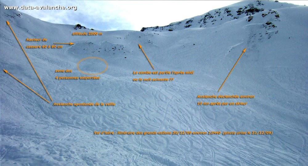 Avalanche Haute Tarentaise, secteur Grande Aiguille Rousse, Grands Vallons Val d'Isère - Photo 1 - © Mafayon Jean-Loic