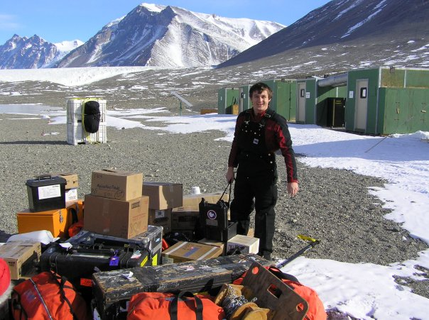Alex Michaud with field gear at Lake Fryxell camp, 2009-2010 season (photo by A. Chiuchiolo)