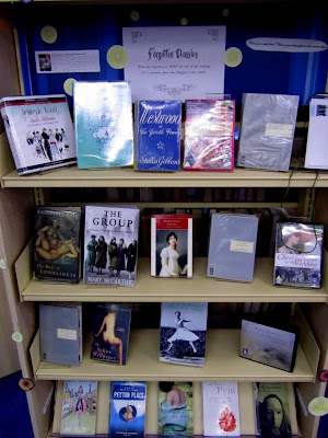 Forgotten Classics library display featuring Persephones and Virago Modern Classics