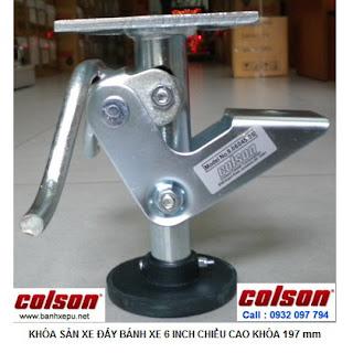 Khóa chân xe đẩy hàng Colson Mỹ chiều cao khi khóa 197mm | 6045x6