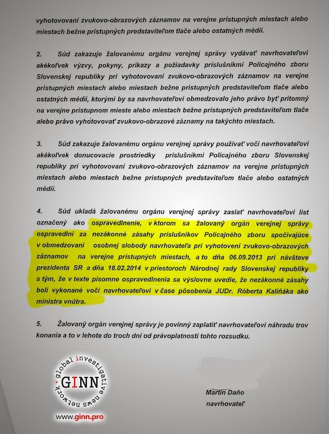 Žaloba GINN vs Robert Kaliňák a Ministerstvo vnútra, strana 9