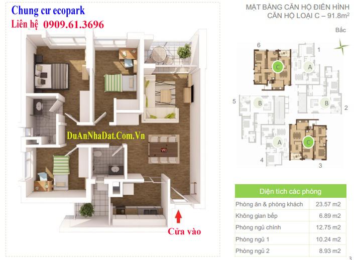 Thiết kế căn hộ 91.8m2 chung cư Ecopark