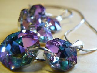 biżuteria z półfabrykatów - różowy blask (komplet)