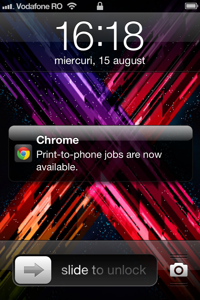Chrome iOS print-to-phone jobs