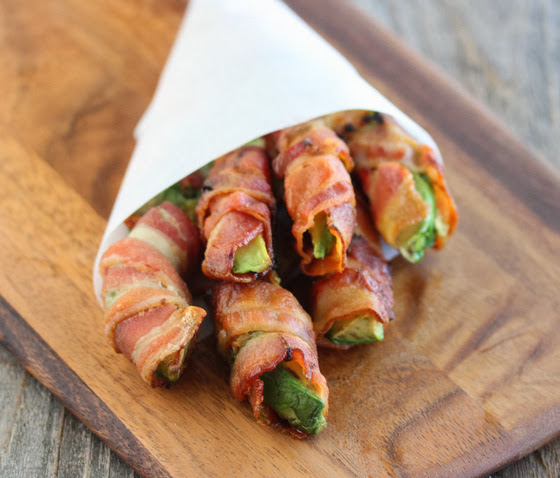 close-up photo of bacon-wrapped avocado fries