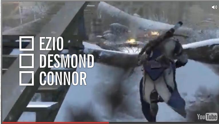 """第一反应是找刺客 Assassin,但是发现三个都是人名!!这。。。前两代主角名字早就忘了好不好啊,第三代虽然各种意义上的""""烂尾"""",但是人名还是记得,于是选了 Connor,结果对了!"""