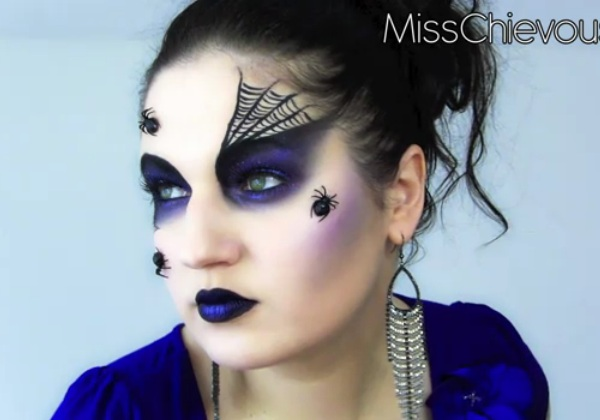 Halloween makeup tutorial for spider queen black widow look