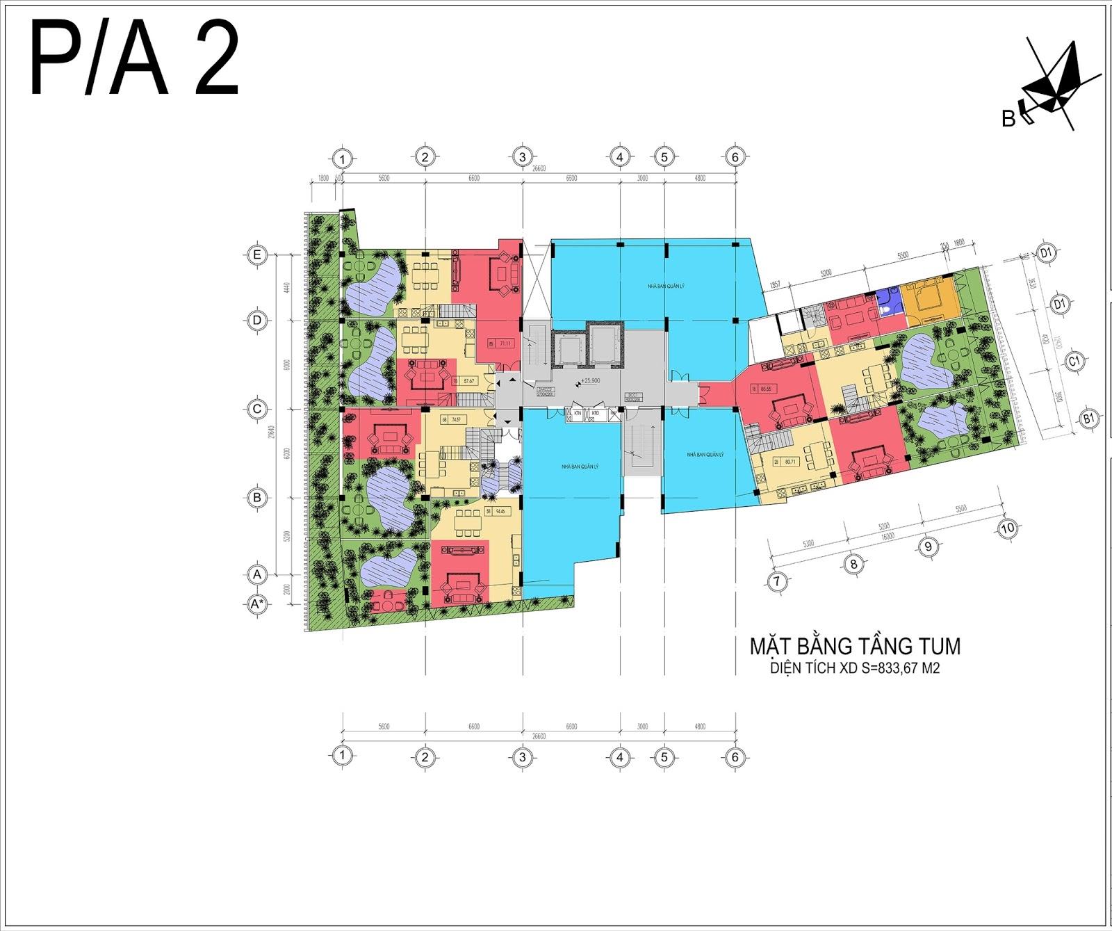 Mặt bằng tầng tum dự án Núi Trúc Square