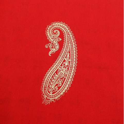 huge paisley block print gold and red cotton fabric