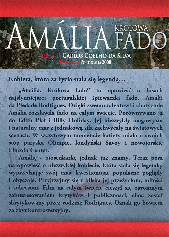 Ulotka filmu 'Amalia. Królowa Fado (tył)'