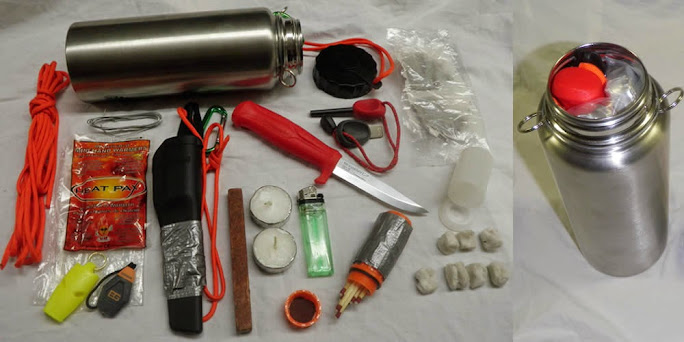 Jugando con la idea de la conocida lata del SAS Waterbottle-survival-kit