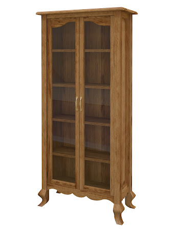 Orleans Glass Door Bookshelf in Lamar Maple